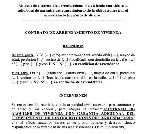 modelo contrato alquiler vivienda 2016 argentina descargar contrato de arrendamiento con dep 243 sito como garant 237 a