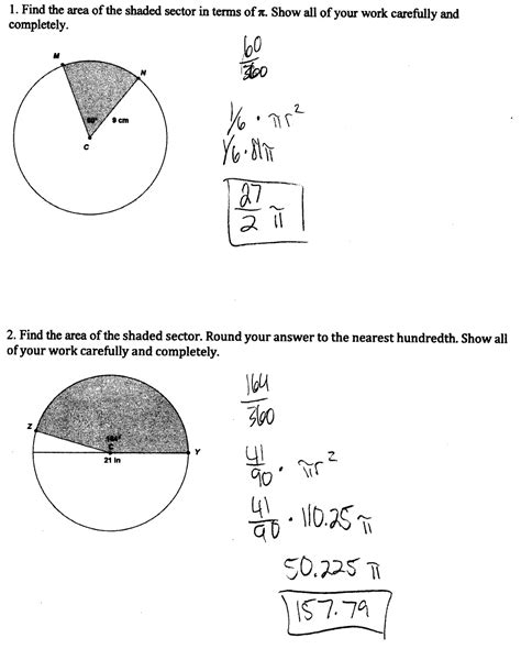 printable math worksheets arc length and area of a sector arc length and sector area worksheet lesupercoin