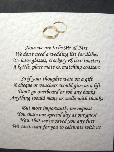 wedding money gift 20 wedding poems asking for money gifts not presents ref no 5 wedding poem and wedding poems
