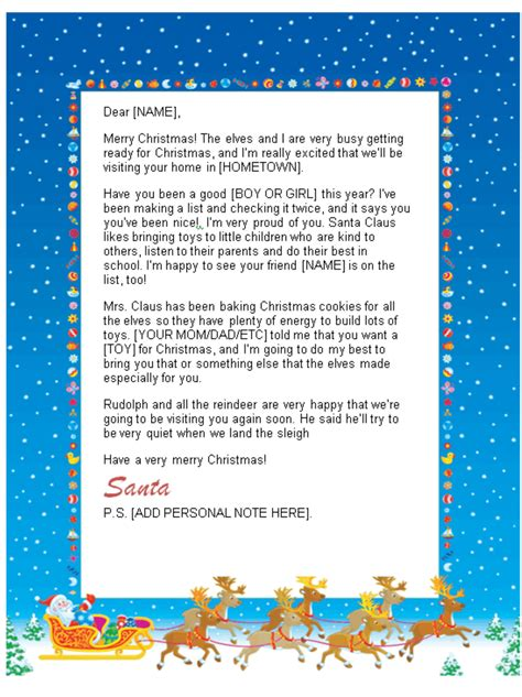 santa letter reply template santa letters to print at home sleigh design