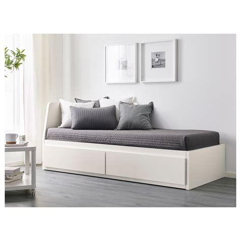 daytime bed flekke day bed frame with 2 drawers white 80x200 cm ikea