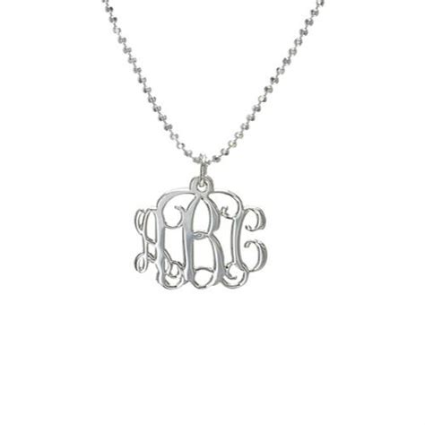 monogrammed sterling silver necklace small sterling silver monogram necklace wish list