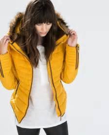 zara mustard yellow quilted padded winter jacket fur