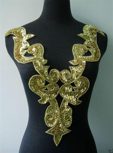 gold applique bd02 gold bodice sequin bead applique tutu belly