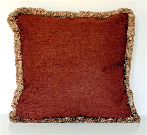 large sofa pillows large solid rust chenille fringe decorative throw pillow