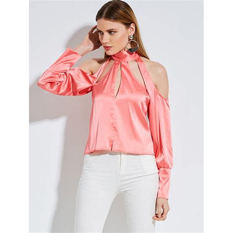 Plain Stand Collar Blouse fashion pink stand collar hollow sleeve plain