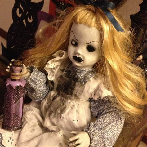 porcelain doll repaint ooak creepy sitting in doll horror custom