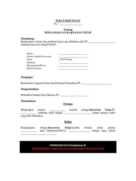 Format Memo Jabatan Contoh Surat Pengangkatan Karyawan Tetap Pdf