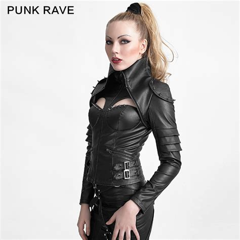 Gothic Style Home by Rivets Studded Tight Punk Jacket With High Collar For