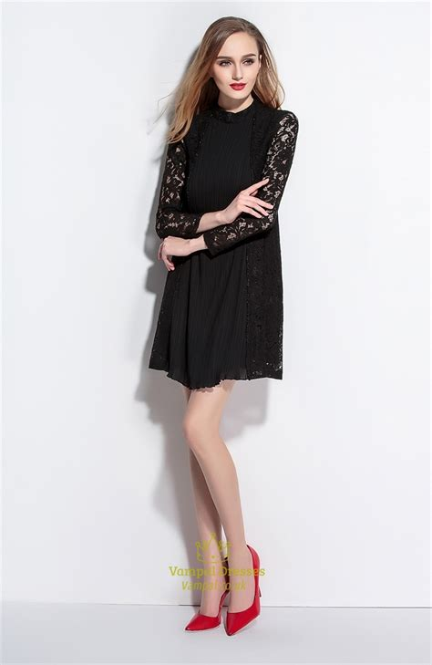Sleeve High Neck Dress black high neck a line dress with lace sleeves