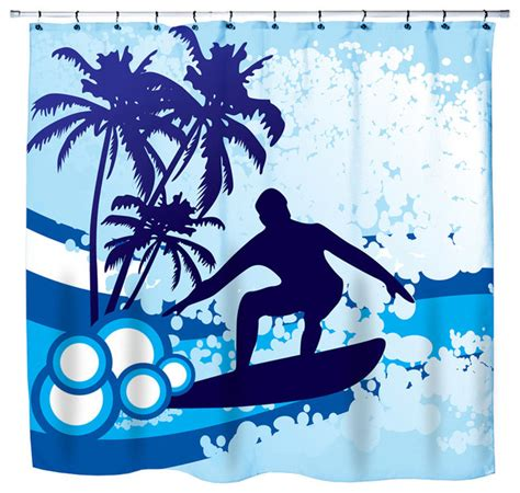 surf shower curtain eco friendly quot surf s up quot beach themed shower curtain