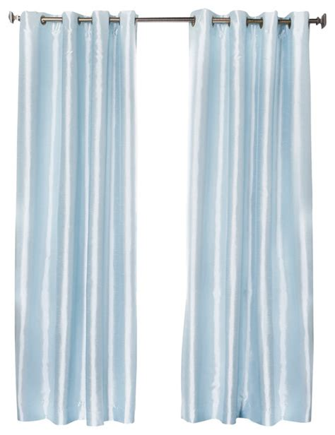 Sky Blue Curtains Dupioni Faux Silk Grommet Top Blackout Curtain 1 Pair Sky Blue 84 Quot Contemporary Curtains