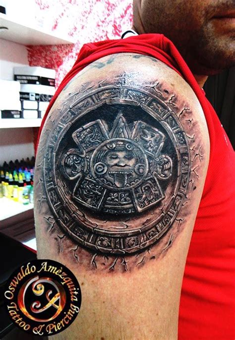 realistic tattoo aztec calendar center best galery