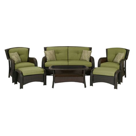 Weatherproof Patio Furniture Sets Shop Hanover Outdoor Furniture Strathmere 6 Wicker Patio Conversation Set At Lowes