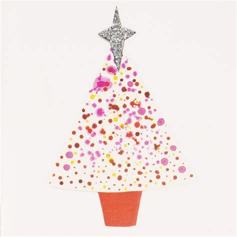 pink christmas tree mini greeting card mini006 artists