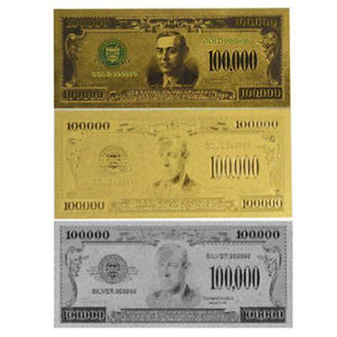 100 000 Dollar In Der 3 Pcs Us 100 000 Gold Silver Colored Banknotes Uncirculate American Dollar Bill Ebay