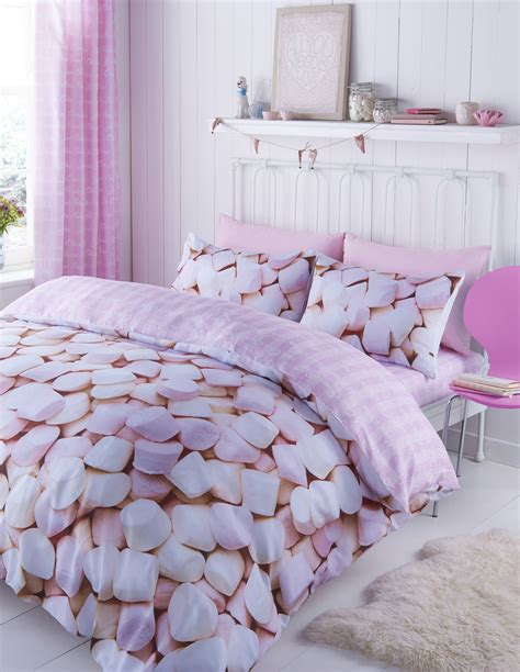 Single Bedding And Curtain Sets Catherine Lansfield Pink Marshmallow Single Or Duvet Covers Or Curtains