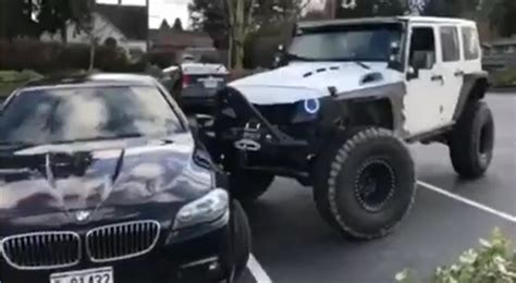 Jeep Guys Wrangler Driver Rams Bmw Into One Parking Space