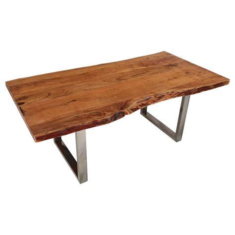 natural  acacia wood steel base  edge dining table