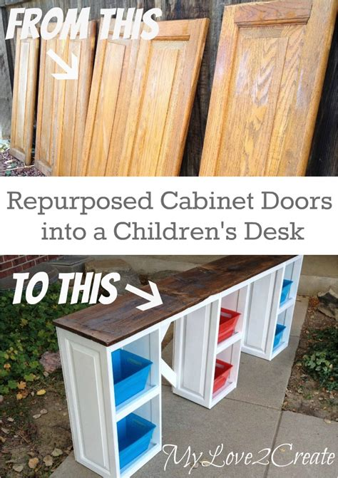 how to make a desk from kitchen cabinets cabinet doors into children s desk my love 2 create