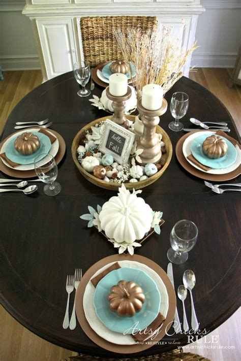 coastal casual fall tablescape full table view