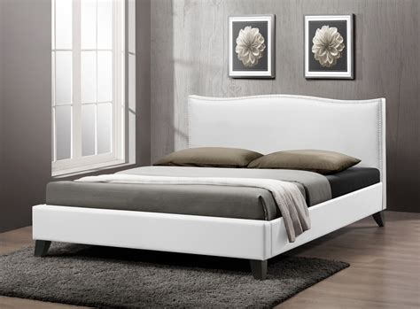 clearance upholstered headboard baxton studio battersby white modern bed with upholstered