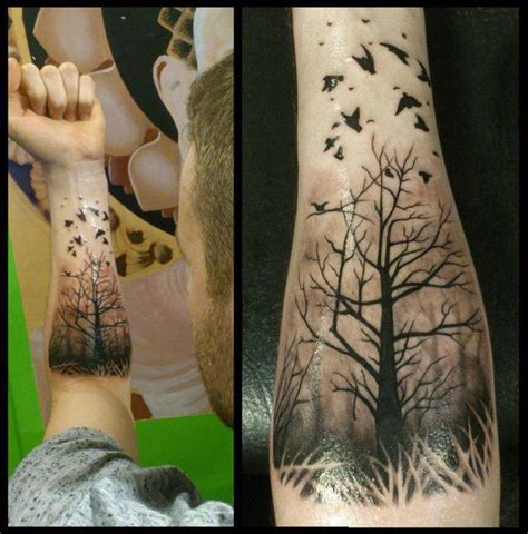 generic tattoos forest with ravens forearm best
