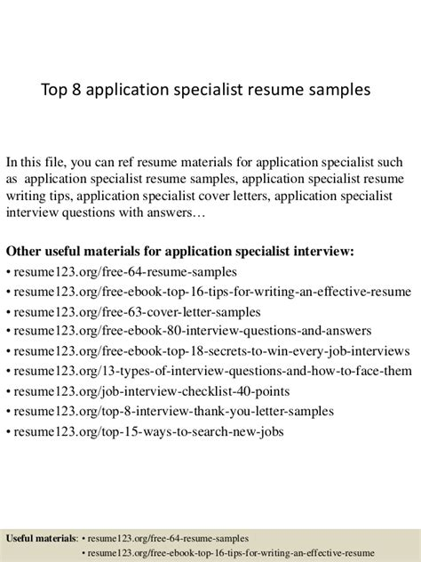 Resume Sle For Clinical Application Specialist Top 8 Application Specialist Resume Sles