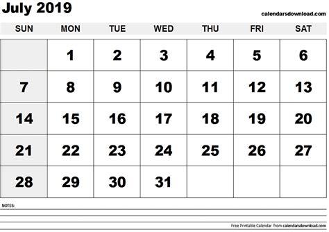 Calendar 2019 July July 2019 Calendar