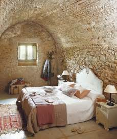 home interiors wall rock wall for rustic bedroom ideas with simple bed