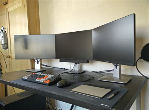 All In Black Gaming Computer Desk Setup With Triple Computer Desk Setups