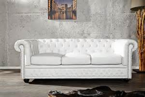 canap 233 chesterfield 3 places blanc design