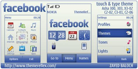 themes java touch facebook theme for nokia asha 303 asha 300 c3 01 and