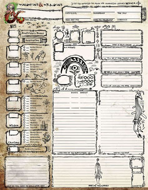 petroglyph style character sheet dungeon masters guild