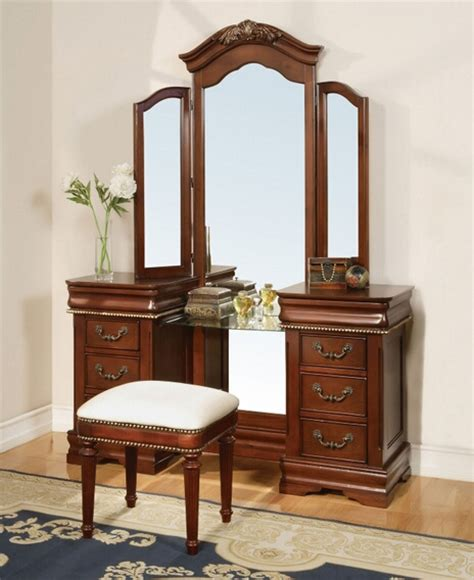 Cherry Makeup Vanity by 3 Pc Classique Collection Cherry Brown Finish Wood Make Up