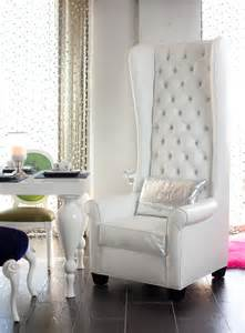 4186 tall wingback chair upholstered in white croco and tufted with