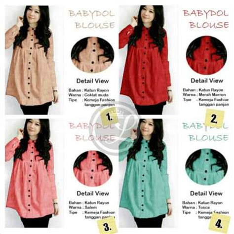 Terlaris Kemeja Bahan Rayon Polos Ukuran Jumbo Kancing Warna 35 A kemeja kerja wanita mp017 jual baju cewek denim modis