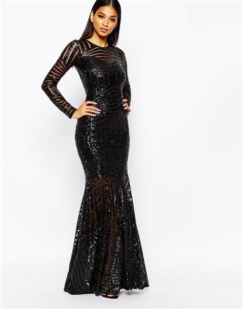 Dress L lyst club l all sequin fishtail maxi dress in black