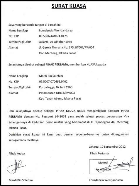 contoh surat kuasa dengan format umum terbaru abwaba