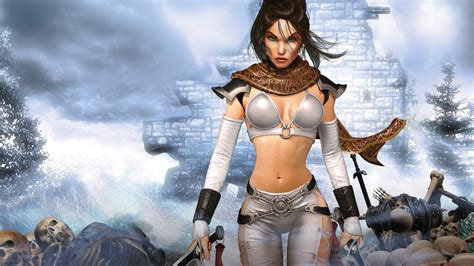 wallpaper game hot women warrior full hd wallpaper and background image