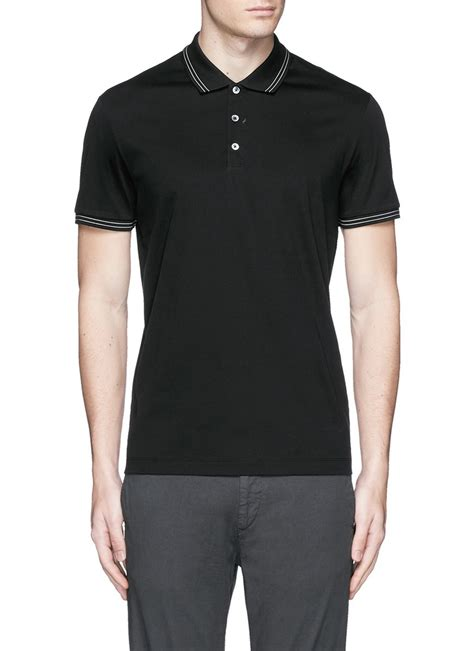 theory boyd tc cotton jersey polo shirt in black for