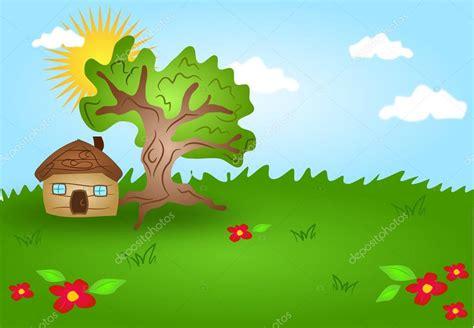 imagenes de paisajes urbanos animados paisaje de dibujos animados con casa de madera foto de