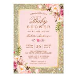 blush pink gold baby shower invitations announcements