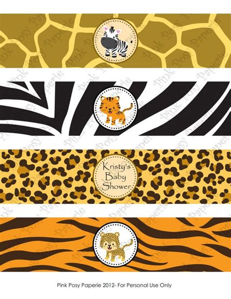 printable jungle animal labels printable safari baby shower water bottle wrappers water