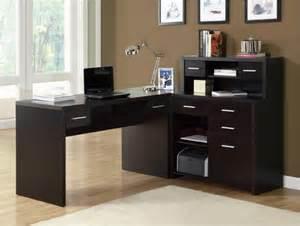 Cappuccino hollow core l shaped home office desk contemporary desks