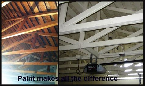 Garage Roof Paint by Diy Dithering Painting Garage Trusses And Shingles