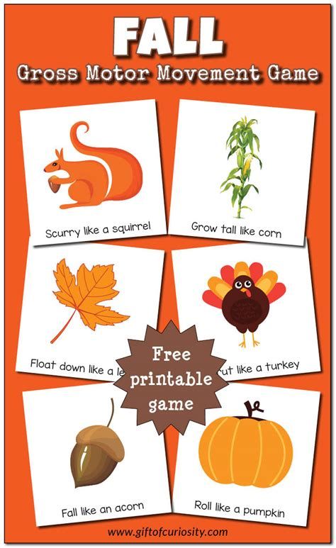 free fall crafts for fall gross motor movement free printable gift of