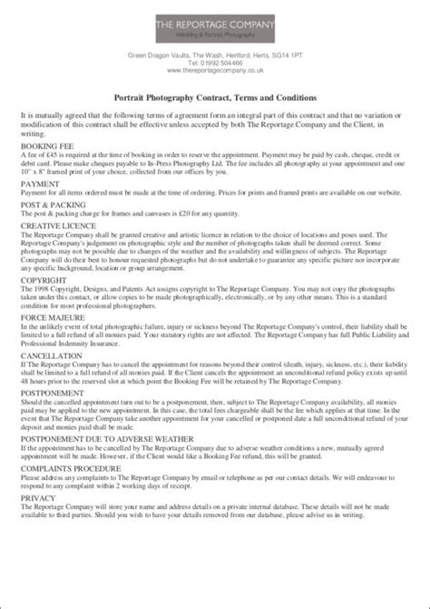 19 Photography Contract Templates Sle Templates Aerial Photography Contract Template