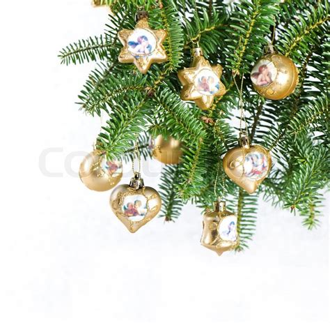 christmas tree decoration pine branches with golden