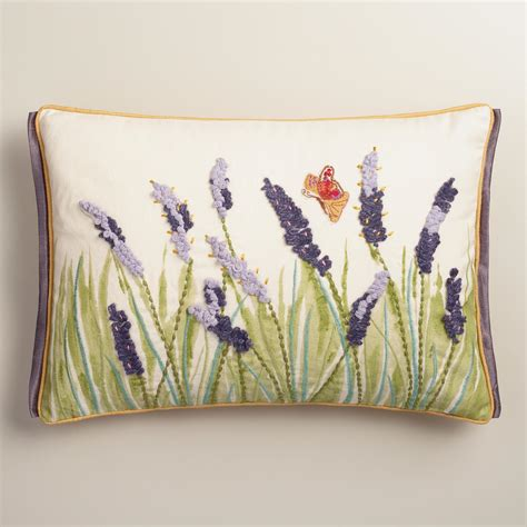 Butterfly Pillows by Purple Lupine And Butterfly Embroidered Lumbar Pillow
